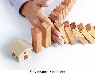 üzletember, kéz, oltalmaz, otthon, biztosítás, fogalom
