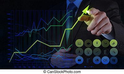 üzletember, kéz, rajz, tényleges, diagram, ügy, képben látható, kevés ellenző, számítógép, mint, fogalom