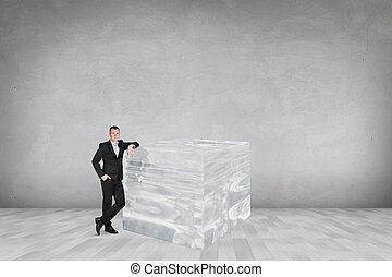 üzletember, köb, jég, nagy