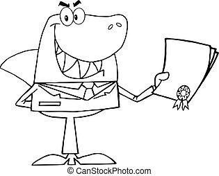 üzletember, körvonalazott, cápa