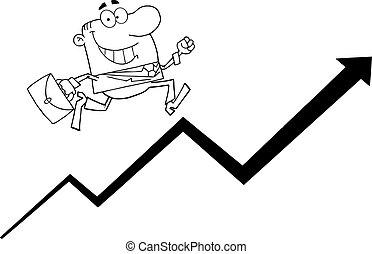 üzletember, körvonalazott, futás, emelkedő