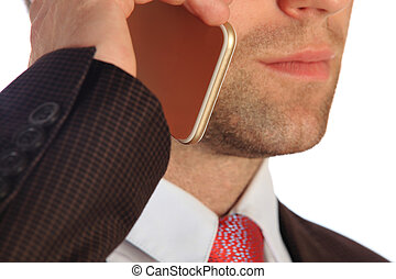 üzletember, közelkép, smartphone