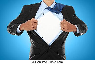 üzletember, kiállítás, egy, superhero, illeszt