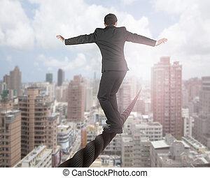üzletember, kiegyensúlyozott, képben látható, egy, drót,...