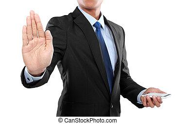 üzletember, kitart mobile, furfangos, telefon, és, megható, ellenző