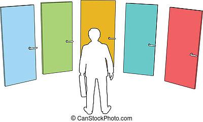 üzletember, kiválaszt, ajtók, kiválasztások, elhatározás