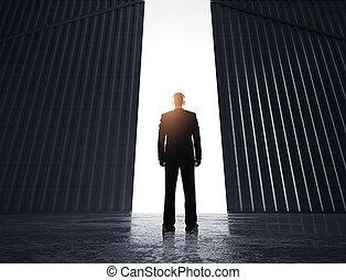 üzletember, látszó, fordíts, ajtók