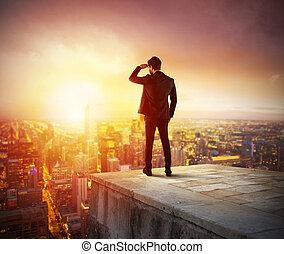 üzletember, látszó, fordíts, jövő, helyett, új ügy, alkalom