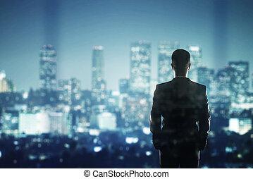 üzletember, látszó, fordíts, város