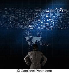 üzletember, látszó, kéz, húzott, ügy stratégia, képben látható, struktúra, fal, mint, fogalom