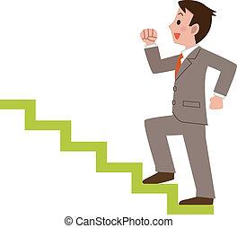 üzletember, lépcsősor, mászó