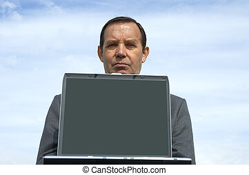 üzletember, laptop