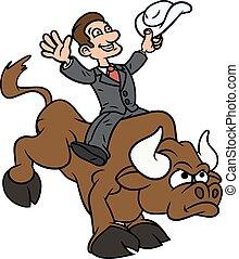 üzletember, lovaglás, bika