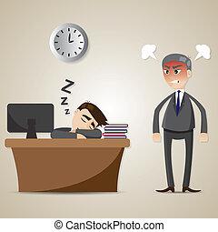 üzletember, mérges, alvás, karikatúra, főnök