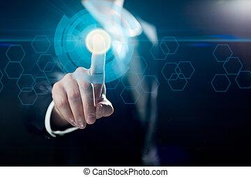 üzletember, megható, gombok, képben látható, ellenző