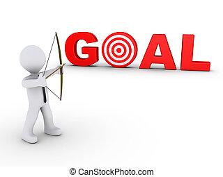 üzletember, mint, íjász, célzás, -ban, egy, gól, céltábla