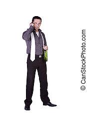 üzletember, misét celebráló, noha, egy, pohár, közül, ital