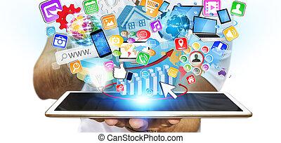 üzletember, modern, tabletta, használ