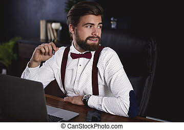 üzletember, munka at, hivatal