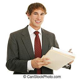 üzletember, munka, fiatal