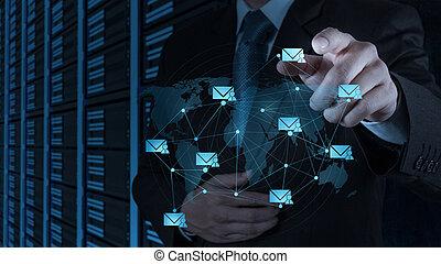 üzletember, munka on, modern technology