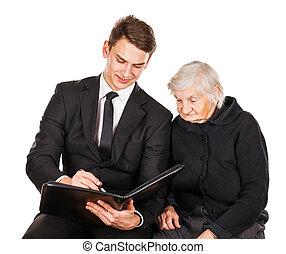 üzletember, nő, fiatal, öregedő