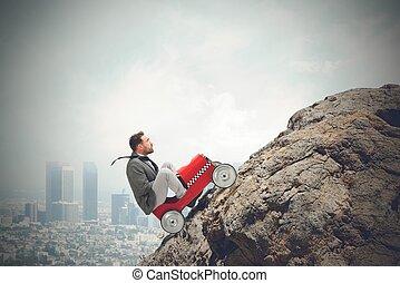 üzletember, nehéz, vezetés, carrer
