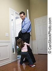 üzletember, noha, daughter.