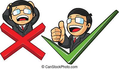 üzletember, noha, ellenőriz jelölés, &, lapozgat