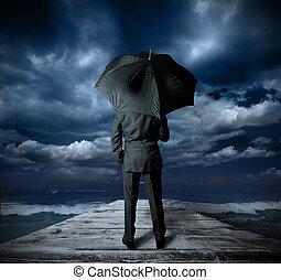 üzletember, noha, esernyő