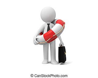 üzletember, noha, mentőbólya