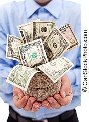 üzletember, noha, pénzestáska, tele, közül, dollárok