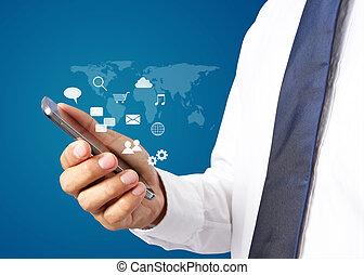 üzletember, noha, smartphone., világ-, összeköttetés, technológia, határfelület