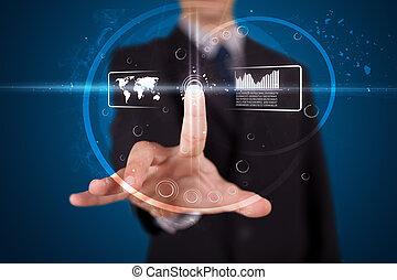 üzletember, nyomás, magas tech, gépel, közül, modern, gombok