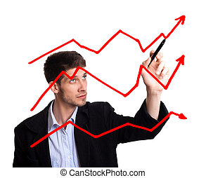 üzletember, rajz, diagram, alatt, whiteboard