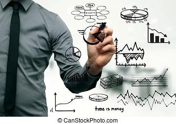 üzletember, rajz, különböző, ábra, táblázatok, és, ügy elem