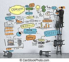 üzletember, rajz, szín, ügy stratégia, képben látható, fal