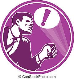 üzletember, reagál, szükséghelyzet, jelez, retro
