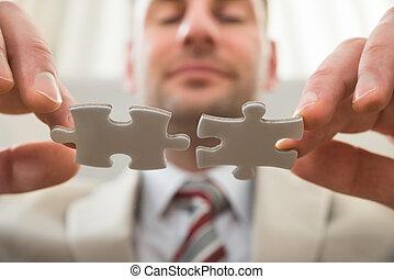 üzletember, rejtvény, connecting, együtt
