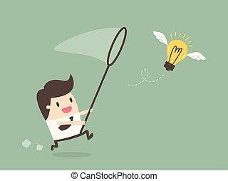 üzletember, repülés, bulb., vadászrepülőgép, fény