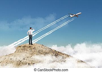 üzletember, repülőgép, messze, felszállás, lát