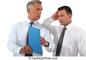 üzletember, reprimanding, övé, munkavállaló