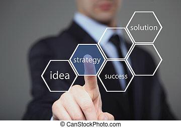 üzletember, sajtó gombolódik, képben látható, kevés ellenző, határfelület, és, választ, strategy.