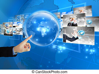 üzletember, sajtó, világ, .technology, fogalom