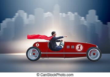 üzletember, superhero, vezetés, nyitott sportautó, szüret