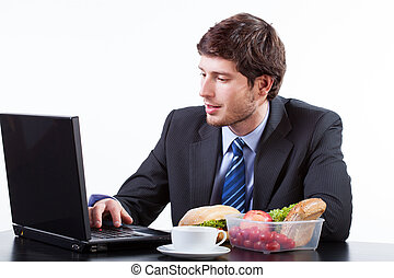 üzletember, számítógép, dolgozó