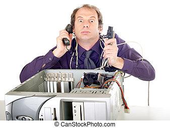üzletember, számítógép, pánik