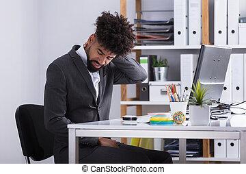 üzletember, szenvedés, alapján, nyak gyötör
