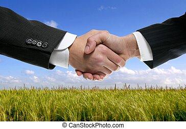 üzletember, társ, reszkető kezezés, alatt, természet