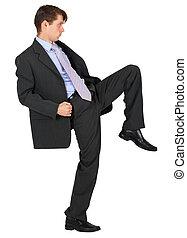 üzletember, térd, megrúg, white, háttér